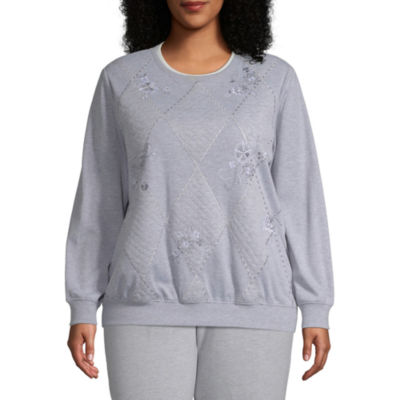 Alfred Dunner At Ease Spliced Diamonds Embroidery Pullover - Plus