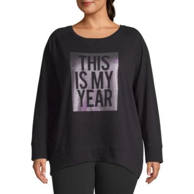 Xersion Womens Metallic Graphic Long Sleeve Sweatshirt - Plus