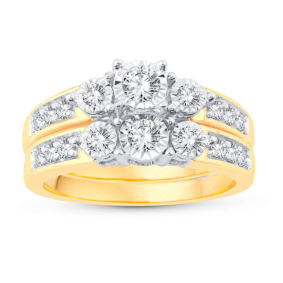 Womens 5/8 CT. T.W. Genuine White Diamond 10K Gold Bridal Set