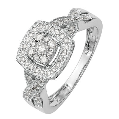 Womens 3/8 CT. T.W. White Diamond 14K White Gold Cluster Ring
