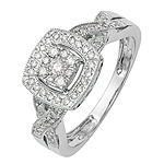 Womens 3/8 CT. T.W. Genuine White Diamond 14K White Gold Cluster Engagement Ring