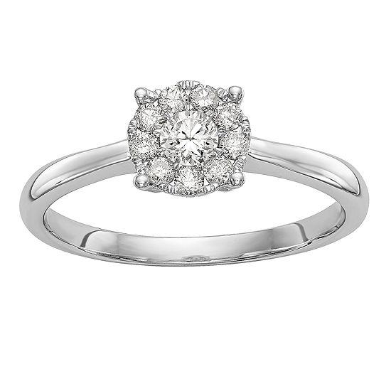 Womens 1/3 CT. T.W. Genuine White Diamond 14K White Gold Cluster Engagement Ring