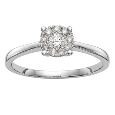 Womens 1/4 CT. T.W. White Diamond 14K White Gold Cluster Engagement Ring