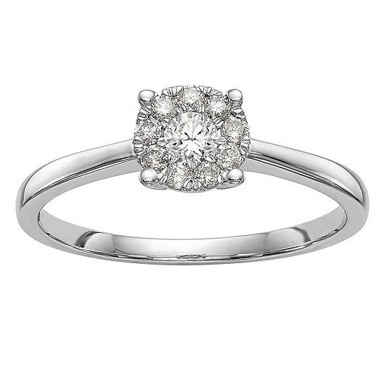 Womens 1/4 CT. T.W. Genuine White Diamond 14K White Gold Cluster Engagement Ring