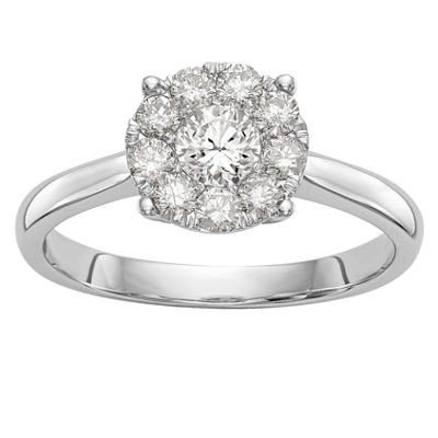 Womens 1/2 CT. T.W. White Diamond 14K White Gold Cluster Engagement Ring