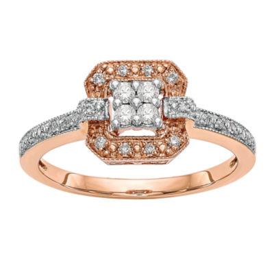Womens 1/5 CT. T.W. White Diamond 14K Rose Gold Cluster Engagement Ring