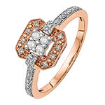 Womens 1/5 CT. T.W. Genuine White Diamond 14K Rose Gold Cluster Engagement Ring