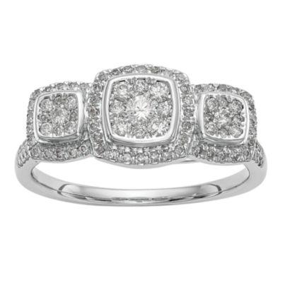 Womens 1/2 CT. T.W. White Diamond 14K White Gold Cluster Ring