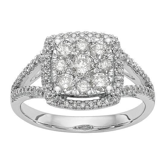 Womens 1 CT. T.W. Genuine White Diamond 14K White Gold Cluster Engagement Ring