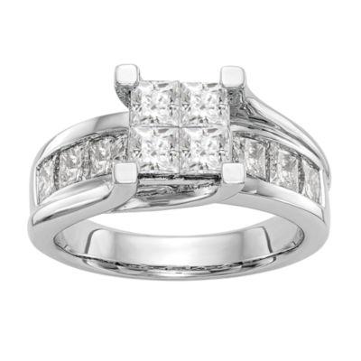 Womens 2 CT. T.W. Genuine White Diamond 14K White Gold Cluster Engagement Ring