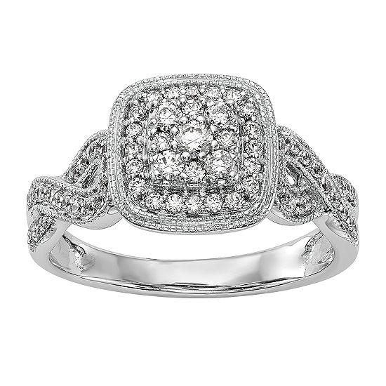 Womens 1/2 CT. T.W. Genuine White Diamond 14K White Gold Cluster Engagement Ring