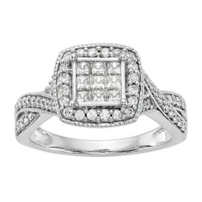 Womens 3/4 CT. T.W. White Diamond 14K White Gold Cluster Engagement Ring