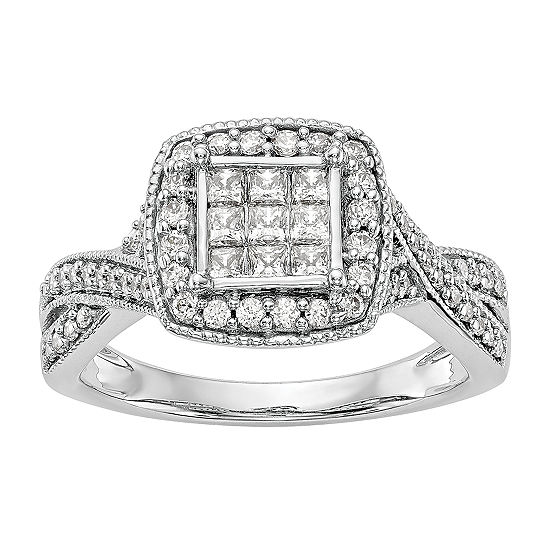 Womens 3/4 CT. T.W. Genuine White Diamond 14K White Gold Cluster Engagement Ring