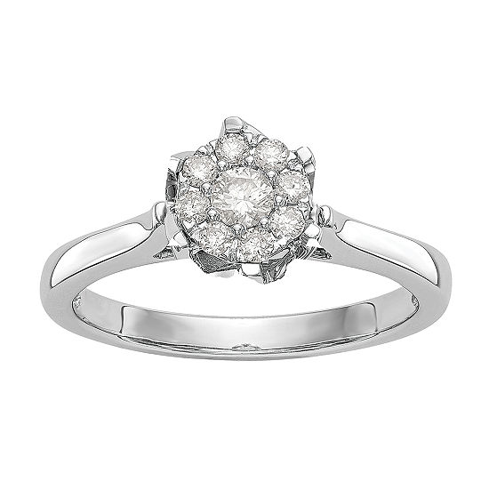 Womens 1/4 CT. T.W. Genuine White Diamond 14K White Gold Cluster Engagement Ring