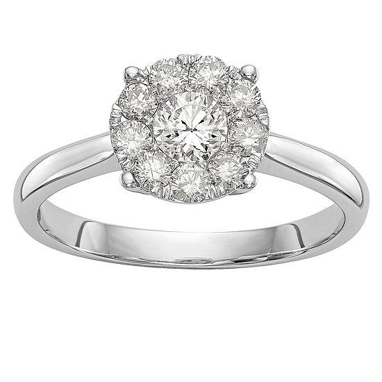 Womens 3/4 CT. T.W. Genuine White Diamond 14K White Gold Cluster Engagement Ring