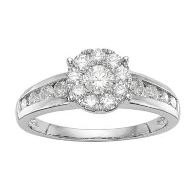 Womens 1 CT. T.W. White Diamond 14K White Gold Cluster Engagement Ring