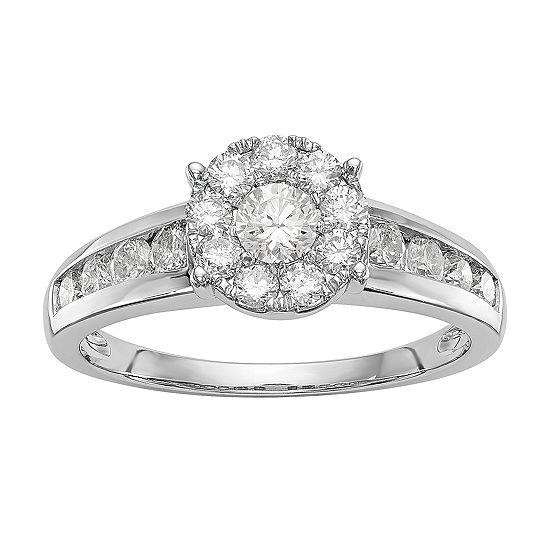 Womens 1 CT. T.W. Genuine White Diamond 14K White Gold Cluster Engagement Ring
