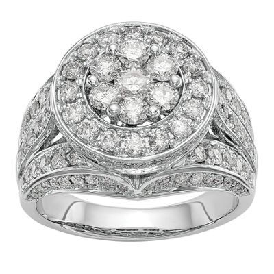 Womens 2 CT. T.W. White Diamond 14K White Gold Cluster Engagement Ring