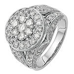Womens 2 CT. T.W. Genuine White Diamond 14K White Gold Cluster Engagement Ring