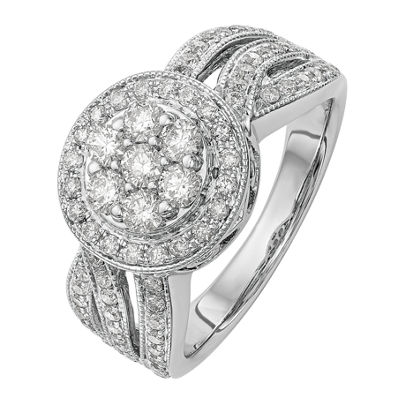Womens 1 CT. T.W. White Diamond 14K White Gold Cluster Engagement Ring
