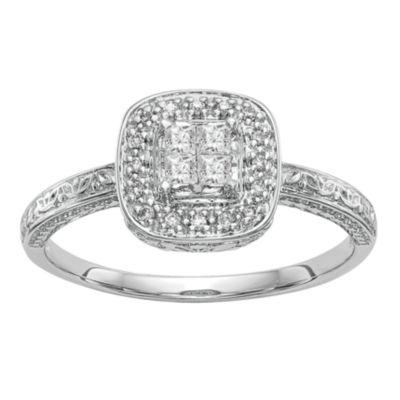 Womens 1/5 CT. T.W. White Diamond 14K White Gold Cluster Engagement Ring