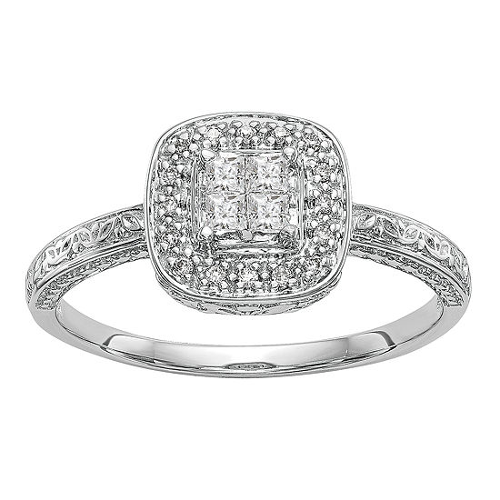 Womens 1/5 CT. T.W. Genuine White Diamond 14K White Gold Cluster Engagement Ring