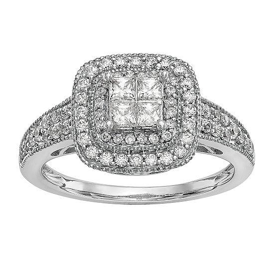 Womens 5/8 CT. T.W. Genuine White Diamond 14K White Gold Cluster Engagement Ring