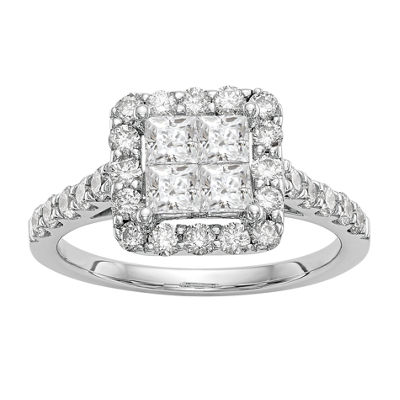 Womens 1 1/2 CT. T.W. White Diamond 14K White Gold Cluster Engagement Ring