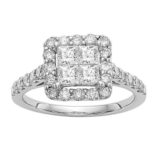 Womens 1 1/2 CT. T.W. Genuine White Diamond 14K White Gold Cluster Engagement Ring