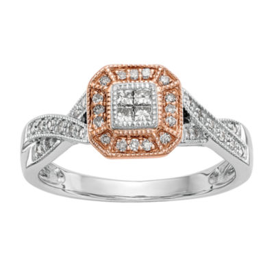 Womens 1/3 CT. T.W. White Diamond 14K Two Tone Gold Cluster Ring