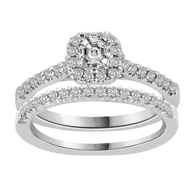Womens 5/8 CT. T.W. Genuine White Diamond 14K White Gold Bridal Set