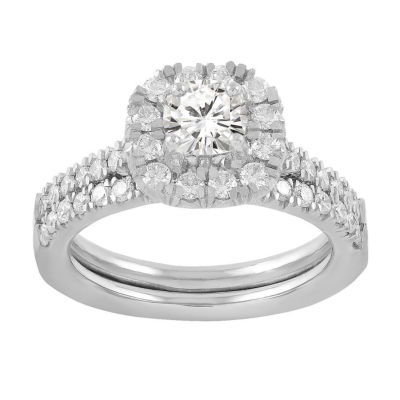 Womens 1 1/8 CT. T.W. White Diamond 14K White Gold Bridal Set