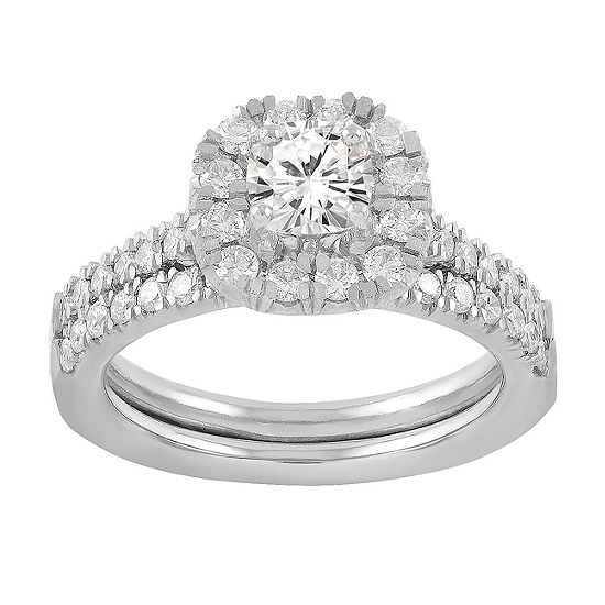 Womens 1 1/8 CT. T.W. Genuine White Diamond 14K White Gold Bridal Set