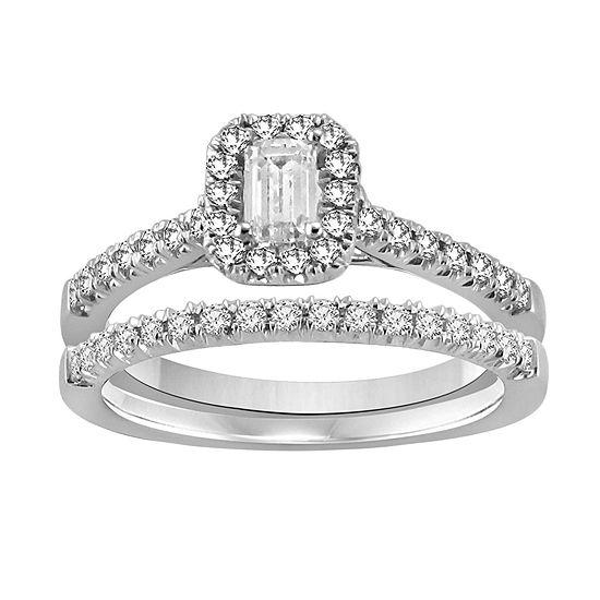 Womens 5/8 CT. T.W. Genuine White Diamond 14K White Gold Bridal Set