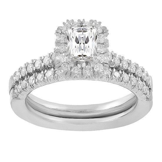Womens 3/4 CT. T.W. Genuine White Diamond 14K White Gold Bridal Set