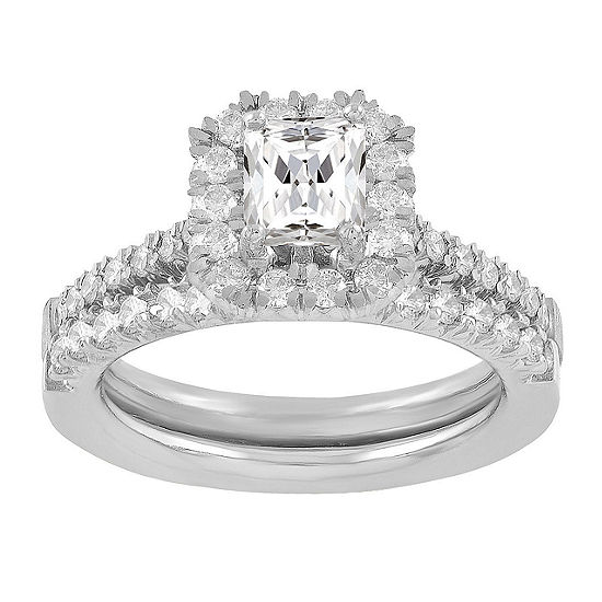 Womens 1 1/4 CT. T.W. Genuine White Diamond 14K White Gold Bridal Set