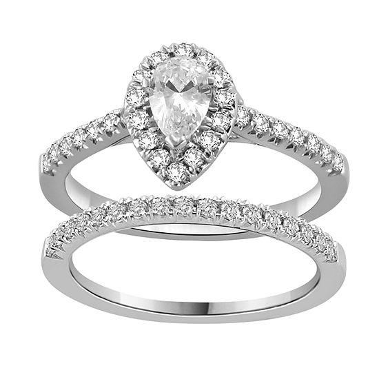 Womens 1 1/5 CT. T.W. Genuine White Diamond 14K White Gold Bridal Set