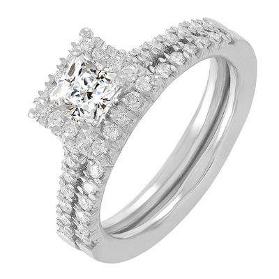 Womens 1 CT. T.W. White Diamond 14K White Gold Bridal Set