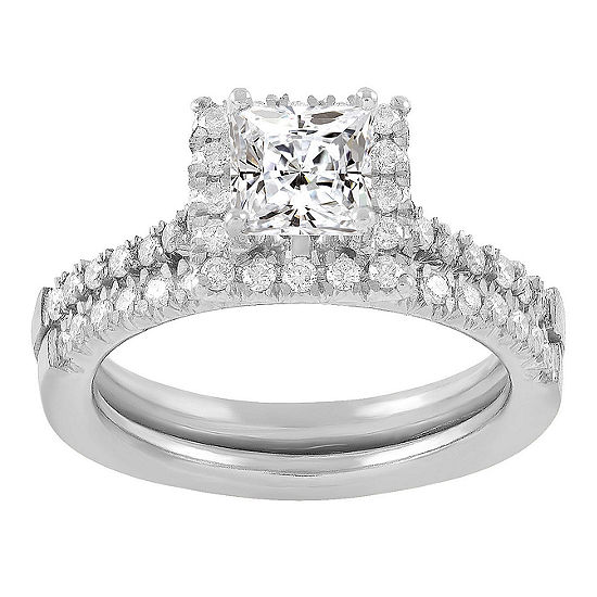 Womens 1 1/4 CT. T.W. Genuine White Diamond 14K White Gold Bridal Set