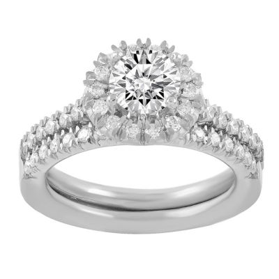 Womens 1 1/5 CT. T.W. White Diamond 14K White Gold Bridal Set