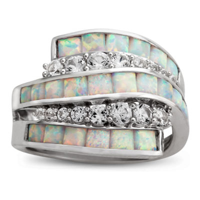 Womens Lab Created White Opal Sterling Silver Cocktail Ring
