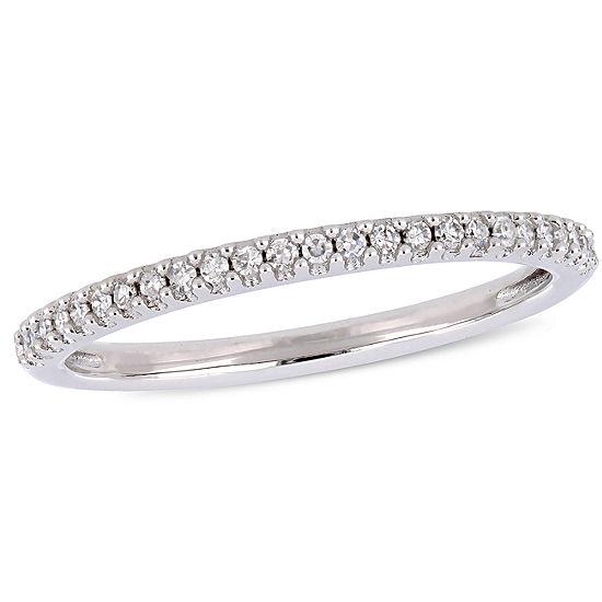 Womens 1/8 CT. T.W. Genuine White Diamond 14K White Gold Wedding Band
