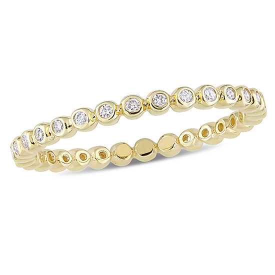 Womens 1 4 Ct Tw Genuine White Diamond 10k Gold Eternity Band