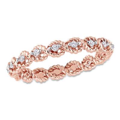 Womens 2.5MM 1/6 CT. T.W. Genuine White Diamond 10K Rose Gold Eternity Band