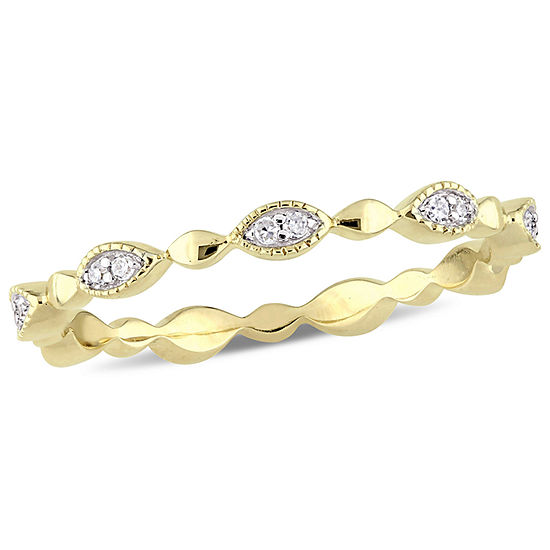 Womens 2.5mm 1/10 CT. T.W. Genuine White Diamond 10K Gold Eternity Band