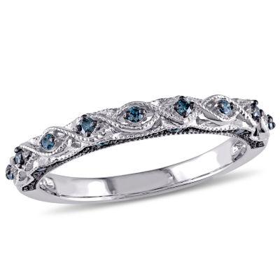 Womens 2MM 1/6 CT. T.W. Genuine Blue Diamond 10K White Gold Wedding Band