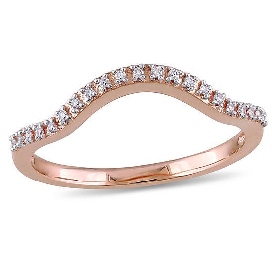 Diamond Accent Genuine White Diamond 10K Rose Gold Wedding Band