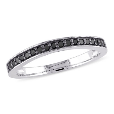 Womens 2mm 1/5 CT. T.W. Genuine Black Diamond Sterling Silver Anniversary Band