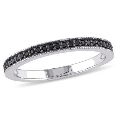 Womens 2mm 1/8 CT. T.W. Genuine Black Diamond Sterling Silver Wedding Band
