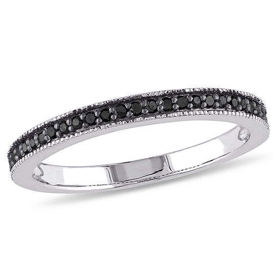 Womens 2mm 1/8 CT. T.W. Genuine Black Diamond Sterling Silver Wedding Band